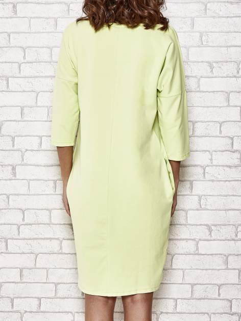 Limonkowa prosta sukienka dresowa                                  zdj.                                  5
