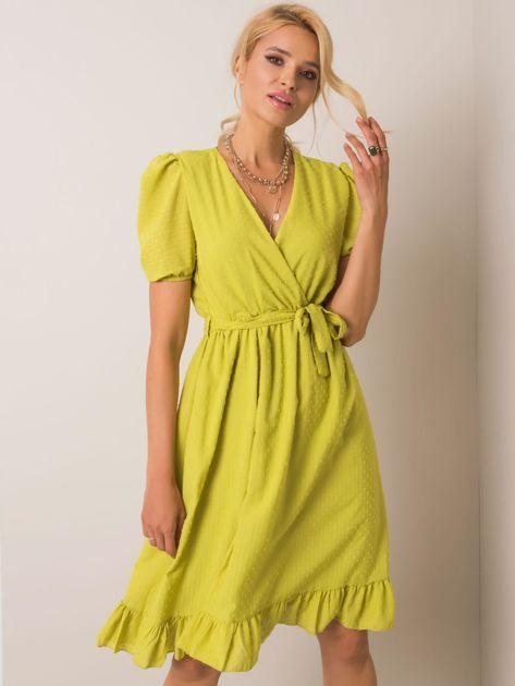 Limonkowa sukienka Colette RUE PARIS