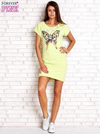Limonkowa sukienka z cekinowym motylem                                  zdj.                                  4