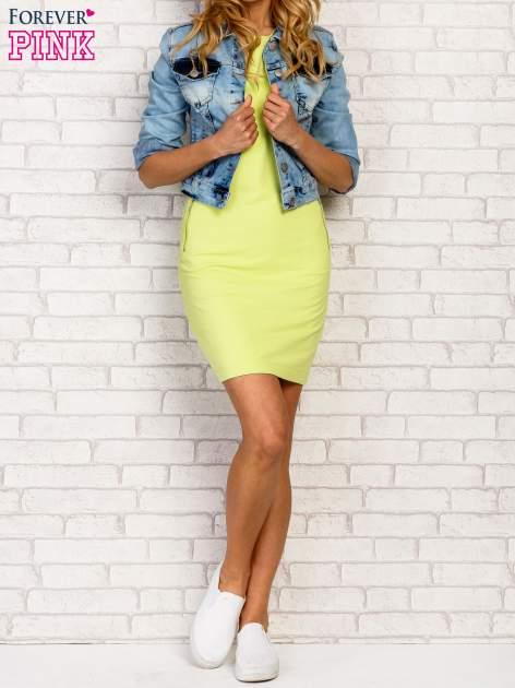 Limonkowa sukienka z kieszeniami na suwak                                  zdj.                                  1