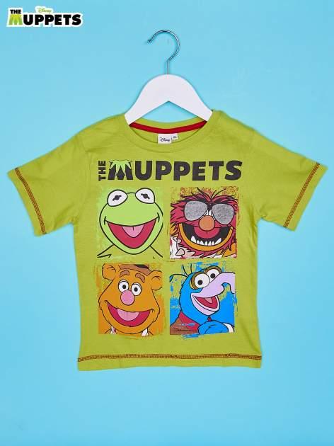 Limonkowy chłopięcy t-shirt MUPPETY