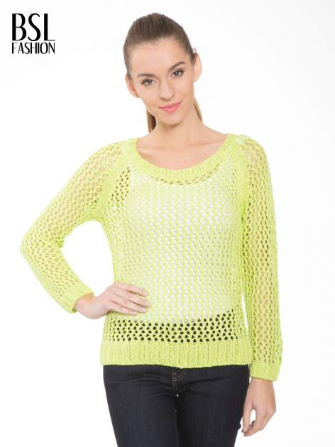 Limonkowy siatkowy sweter                                  zdj.                                  1