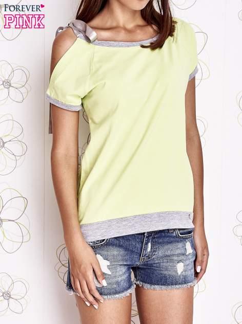 Limonkowy t-shirt z kokardą                                  zdj.                                  1