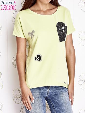 Limonkowy t-shirt z motywem serca i kokardki                                  zdj.                                  1