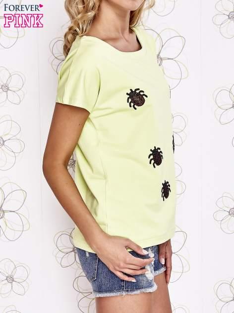 Limonkowy t-shirt z nadrukiem owadów                                  zdj.                                  3
