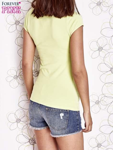 Limonkowy t-shirt z napisem STOP DREAMING START DOING                                  zdj.                                  2