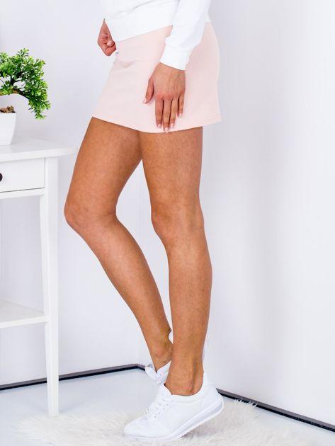 Łososiowa dresowa spódnica mini                                  zdj.                                  5