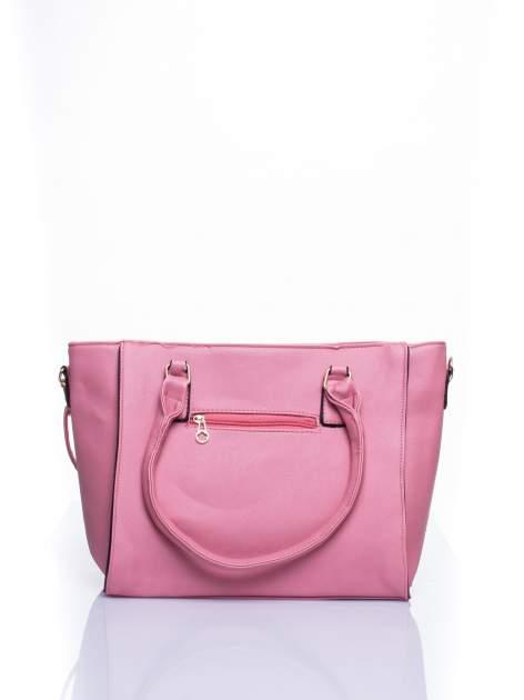 Łososiowa torba shopper bag z odpinanym paskiem                                  zdj.                                  2