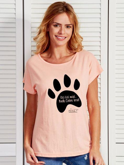 Łososiowy t-shirt damski z łapką KICI KICI MIAŁ by Markus P                              zdj.                              1