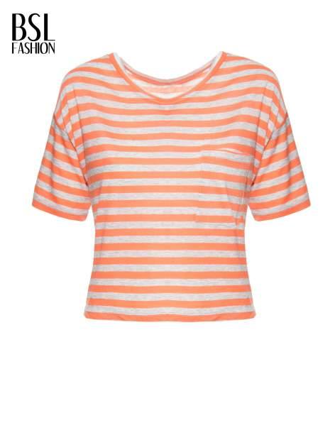 Luźny krótki t-shirt z kieszonką w pomarańczowe paski                                  zdj.                                  8