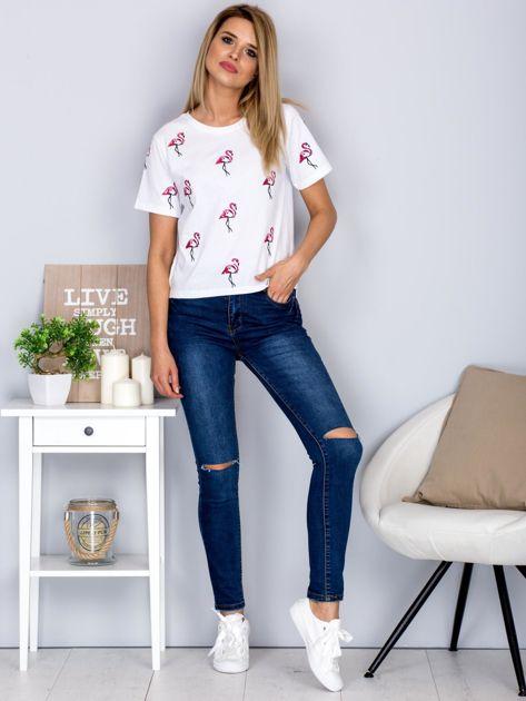 Luźny t-shirt we flamingi biały                                  zdj.                                  4