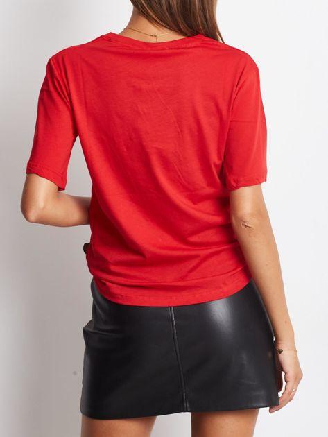 Luźny t-shirt z nadrukiem popcornu z cekinami czerwony                              zdj.                              3