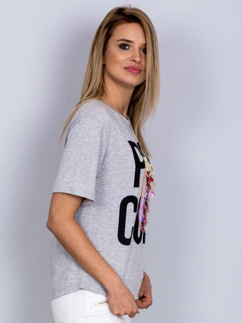 Luźny t-shirt z nadrukiem popcornu z cekinami jasnoszary                              zdj.                              3