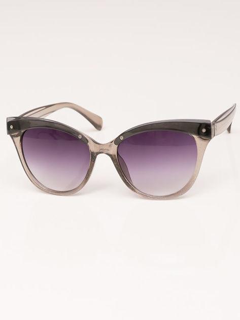 MANINA Okulary przeciwsłoneczne damskie szare z brokatem szkło szaro-fioletowe dymione                              zdj.                              4