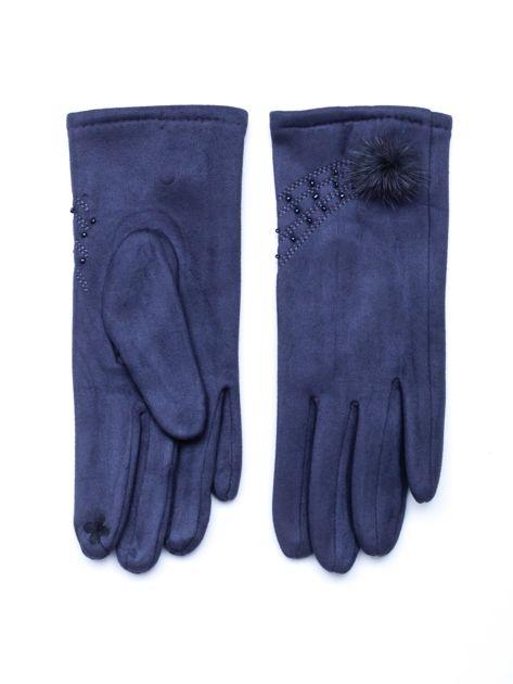 """""""MOHER"""" Szare rękawiczki damskie ze zdobieniem                              zdj.                              1"""