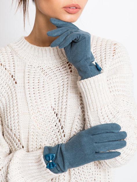 """""""MOHER"""" Zielono-miętowe rękawiczki damskie z kokardą"""