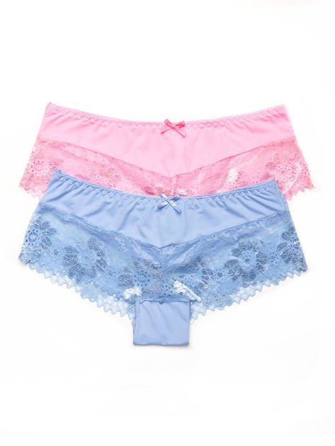 Majtki szorty damskie z koronką 2-pak różowo-niebieskie                              zdj.                              1