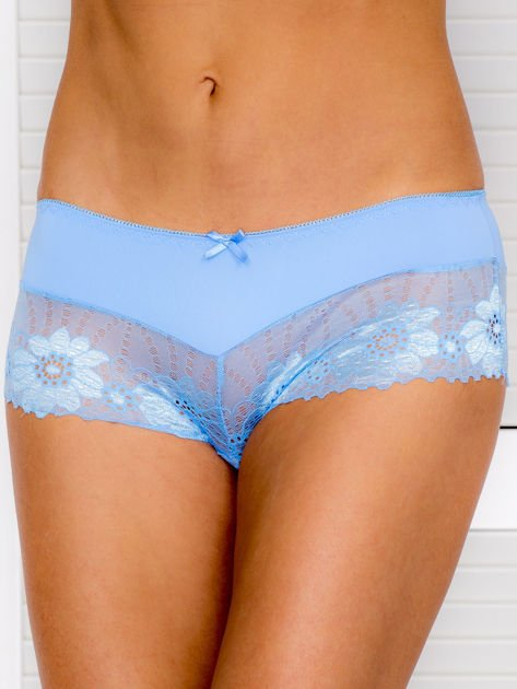 Majtki szorty damskie z koronką niebieskie                              zdj.                              1