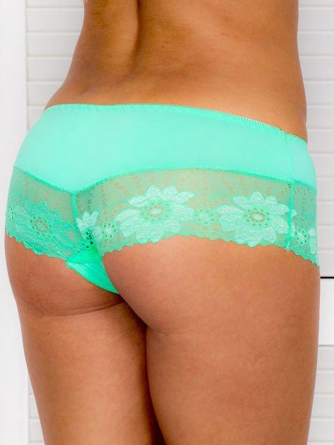 Majtki szorty damskie z koronką zielone                              zdj.                              2