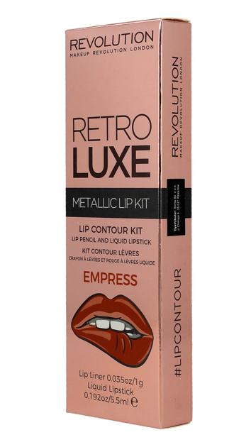 Makeup Revolution Retro Luxe Metallic Lip Kit Zestaw do ust konturówka 1g + pomadka w płynie 5,5ml Empress                               zdj.                              5