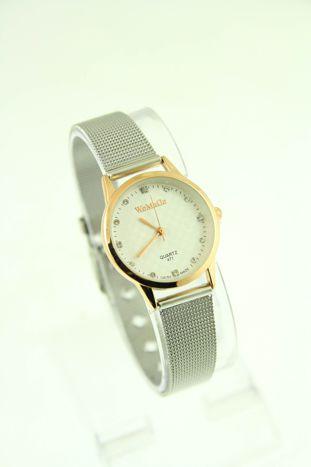 Mały biały zegarek damski na srebrnym pasku