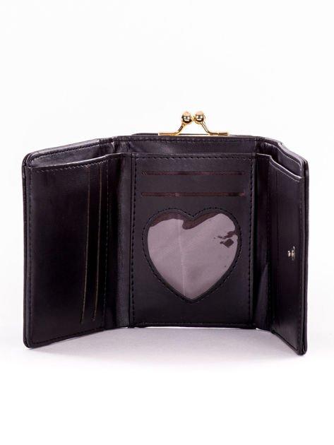 Mały czarny portfel damski z kieszonką na bigiel                              zdj.                              5