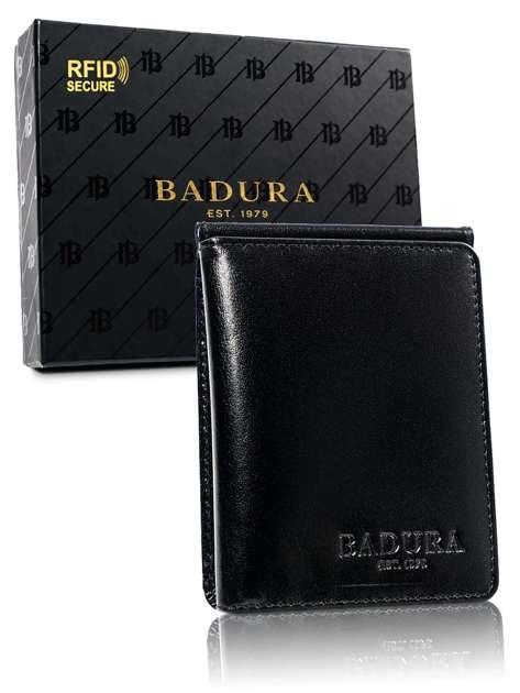 Mały czarny portfel męski ze skóry BADURA