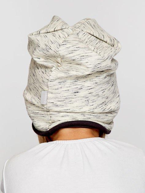 Melanżowa czapka dziewczęca z naszywką serca szaro-czarna                              zdj.                              2