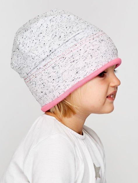 Melanżowa czapka dziewczęca z ozdobnymi nitami szaro-różowa                              zdj.                              4