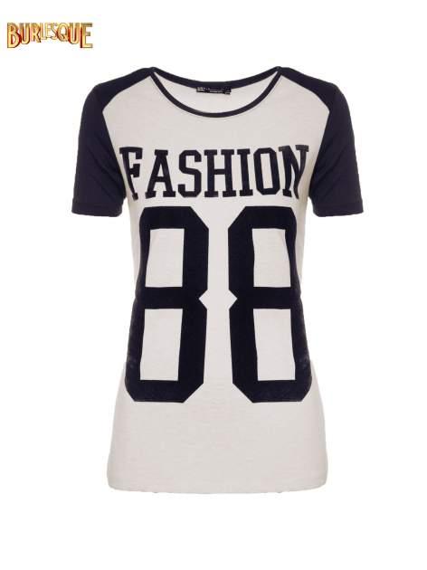 Melanżowo-granatowy t-shirt z nadrukiem FASHION 88                                  zdj.                                  8
