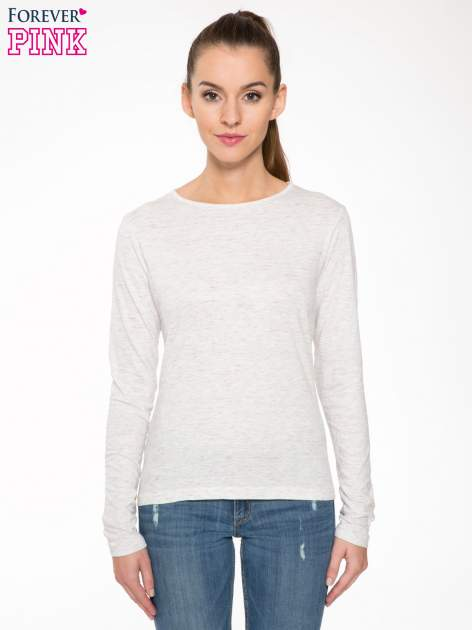 Melanżoworóżowa bawełniana bluzka typu basic z długim rękawem