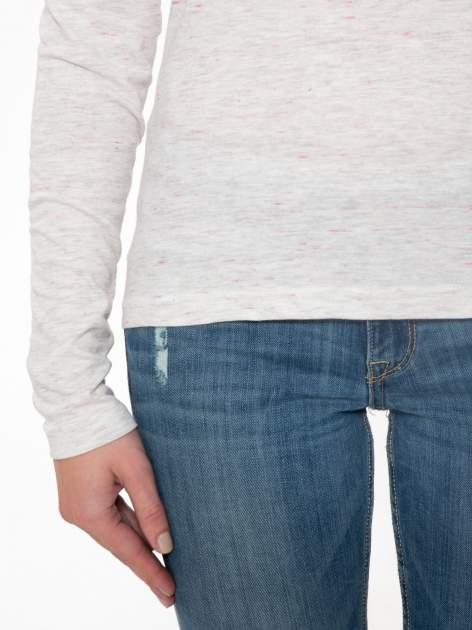 Melanżoworóżowa bawełniana bluzka typu basic z długim rękawem                                  zdj.                                  6