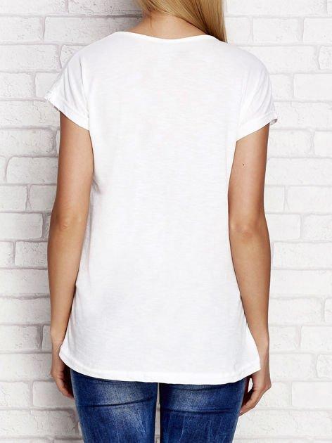Melanżowy t-shirt z motywującym napisem ecru