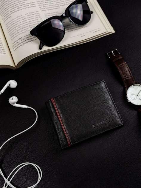 Męski czarny skórzany portfel BADURA