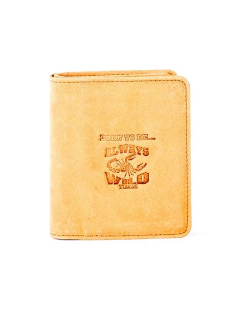 Miękki skórzany portfel camelowy z tłoczeniem