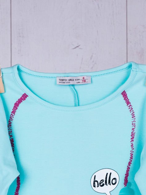 Miętowa bawełniana bluzka dla dziewczynki                               zdj.                              9