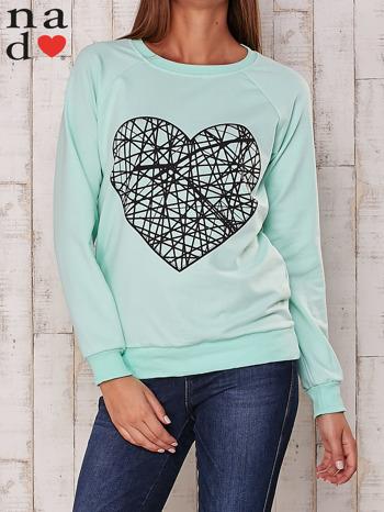 Miętowa bluza z nadrukiem serca                                  zdj.                                  1