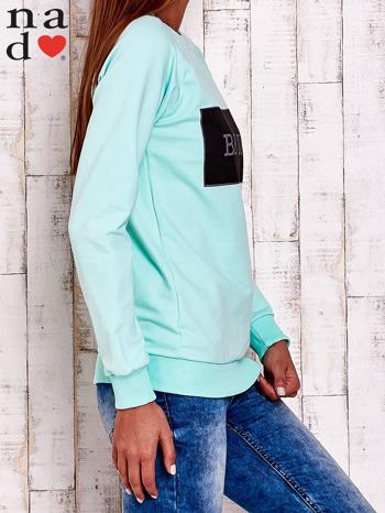 Miętowa bluza z napisem BE NICE                                  zdj.                                  3