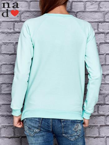 Miętowa bluza z napisem LOVE                                  zdj.                                  4
