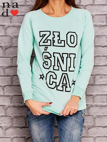 Miętowa bluza z napisem ZŁOŚNICA                                  zdj.                                  1