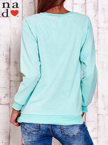Miętowa bluza z wzorem serca                                  zdj.                                  3