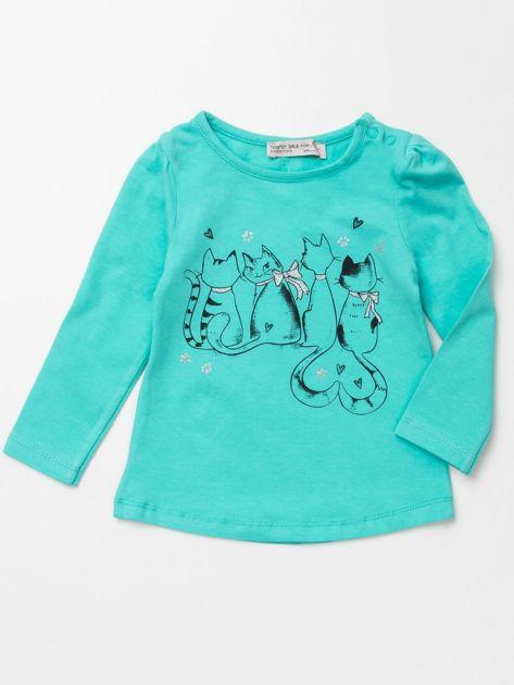 Miętowa bluzka dla dziewczynki z nadrukiem                              zdj.                              1