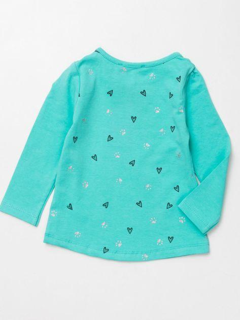 Miętowa bluzka dla dziewczynki z nadrukiem                              zdj.                              3