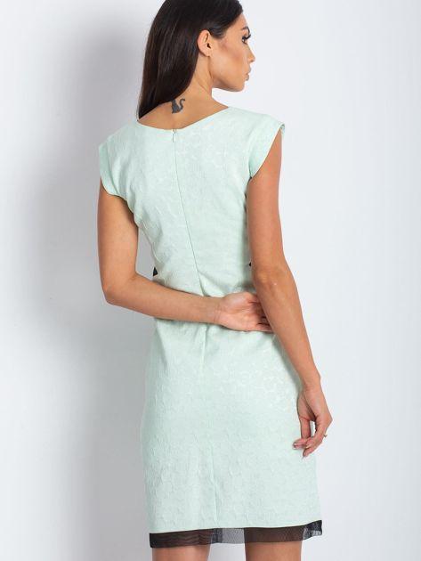 Miętowa elegancka sukienka                              zdj.                              2