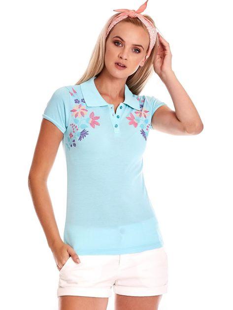 Miętowa koszulka polo z kolorowym kwiatowym printem                              zdj.                              2