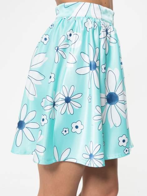 Miętowa rozkloszowana spódnica skater w kwiaty                                  zdj.                                  8
