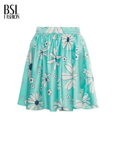Miętowa rozkloszowana spódnica skater w kwiaty                                  zdj.                                  5
