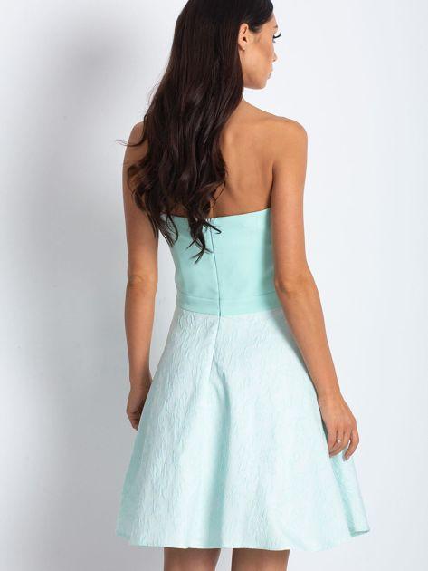 Miętowa rozkloszowana sukienka bez ramiączek                              zdj.                              5