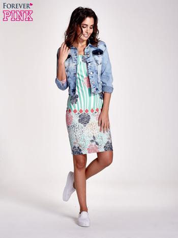 Miętowa sukienka w kwiatowe i geometryczne wzory                                  zdj.                                  2