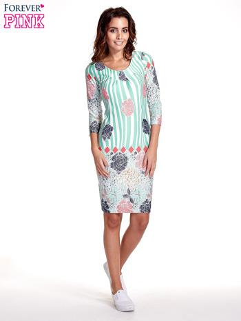Miętowa sukienka w kwiatowe i geometryczne wzory                                  zdj.                                  7